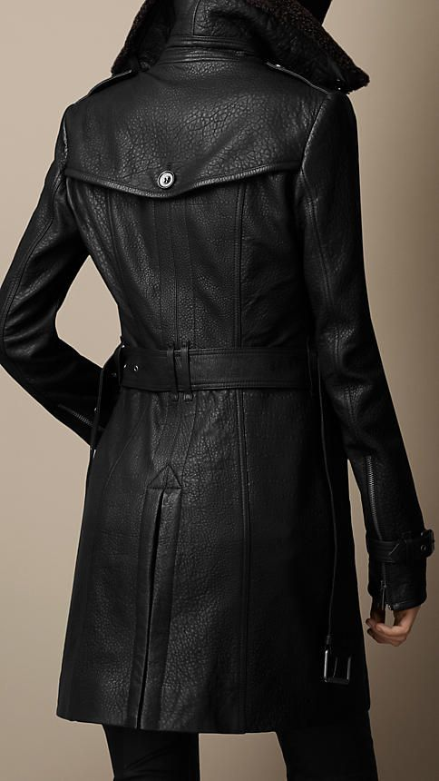 Mid-Length Shearling Collar Leather Trench Coat | Burberry