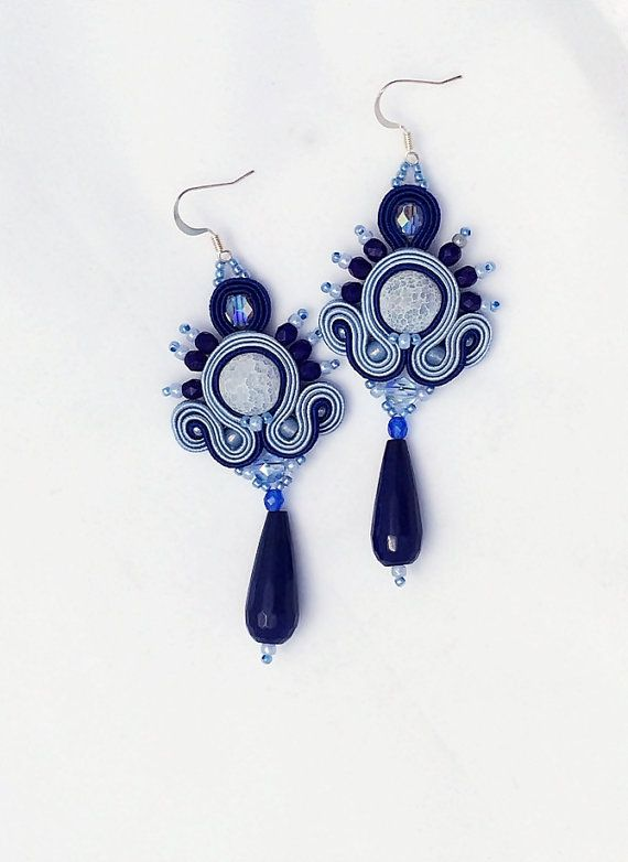 Deep Blue - boho fancy baby blue cobalt navy summer soutache earrings pendientes soutache, orecchini soutache, boucles d'oreilles