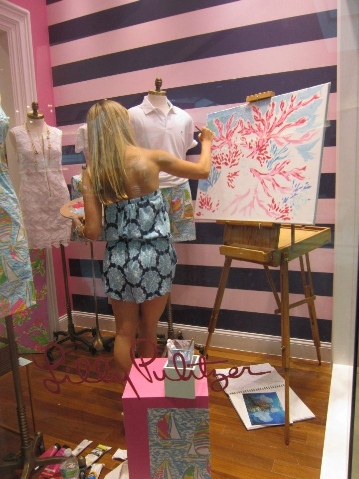 Print Designer Ashley Painting In The Window At Our Palm Beach Garden Store