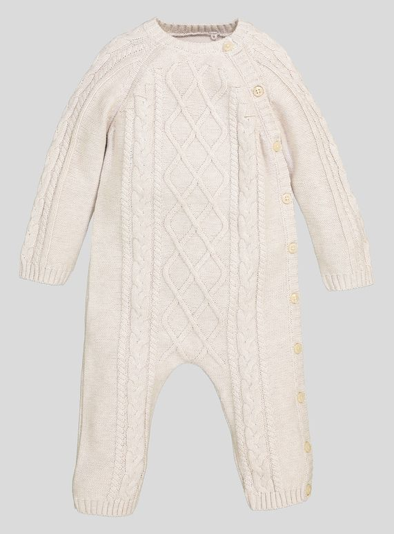 7bcf4f4d2 Cable Knitted Romper (Newborn- 12 Months) from Tu at Sainsbury's ! Your  Online Shop for Baby Boy All in Ones & Rompers