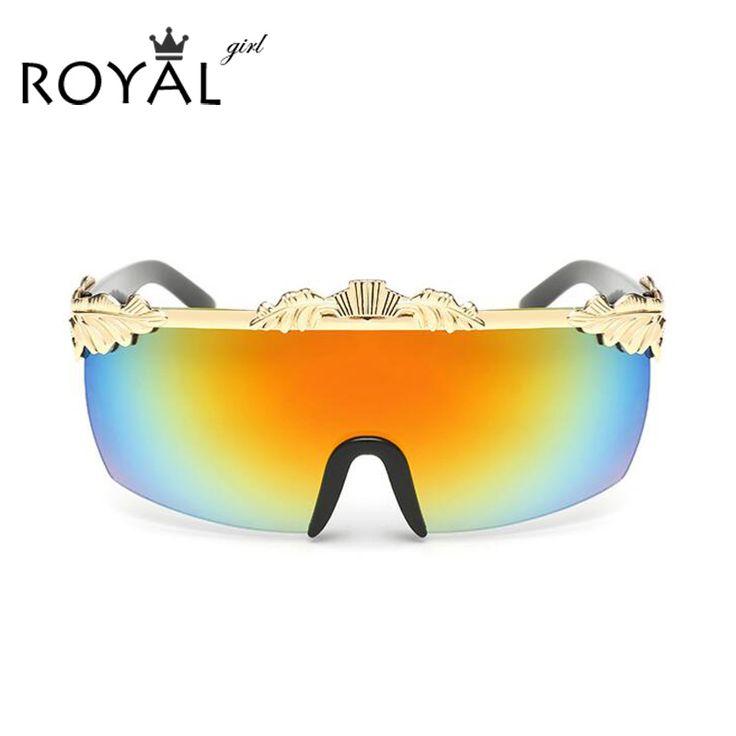ROYAL GIRL Quality Vintage Oversized Women Sunglasses Sem-Rimless Sun shades Mirror ss643