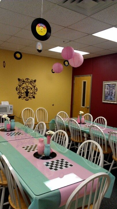 the 50's themed   50's theme sock hop pink blue luncheon decor