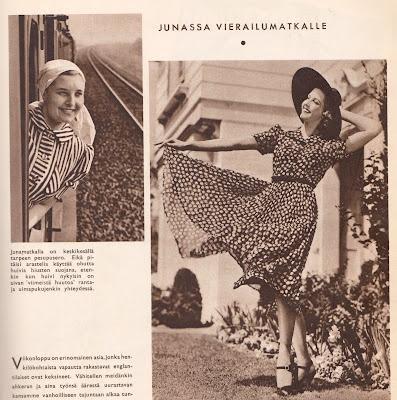 Kesämuoti-ideoita Hopeapeilistä vuodelta 1938. Junamatkailussa oli vielä uutuudenviehätystä.