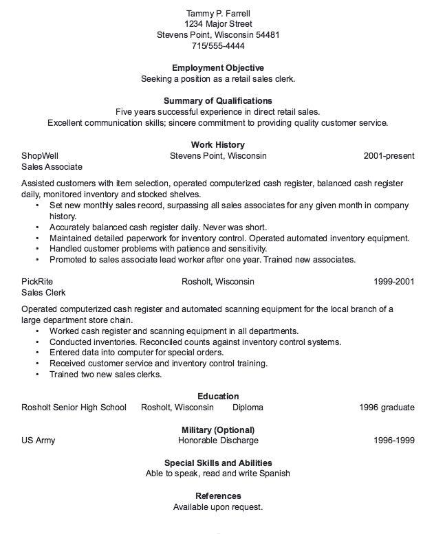 Retail Sales Clerk Resume 11+ clerk job descriptions - pdf, doc