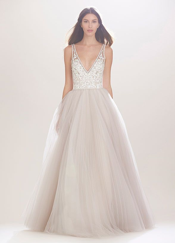 A deep-V crystal neckline and full skirt make this Carolina Herrera dress perfect for the princess bride. 10 Best Dresses From Fall 2016 Bridal Fashion Week.