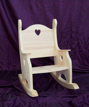 Childrenu0027s Unfinished Rocking Chair   Heart Cutout   Hand Crafted Pine