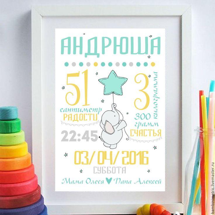 Детская метрика Слоник и шарик. Электронный формат 250 руб. Ваша Саша)))