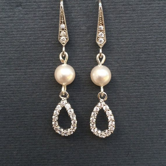 swarovski pearl and cubic zirconia bridal earrings by Colour and Sparkle. Bridal jewellery, wedding jewellery