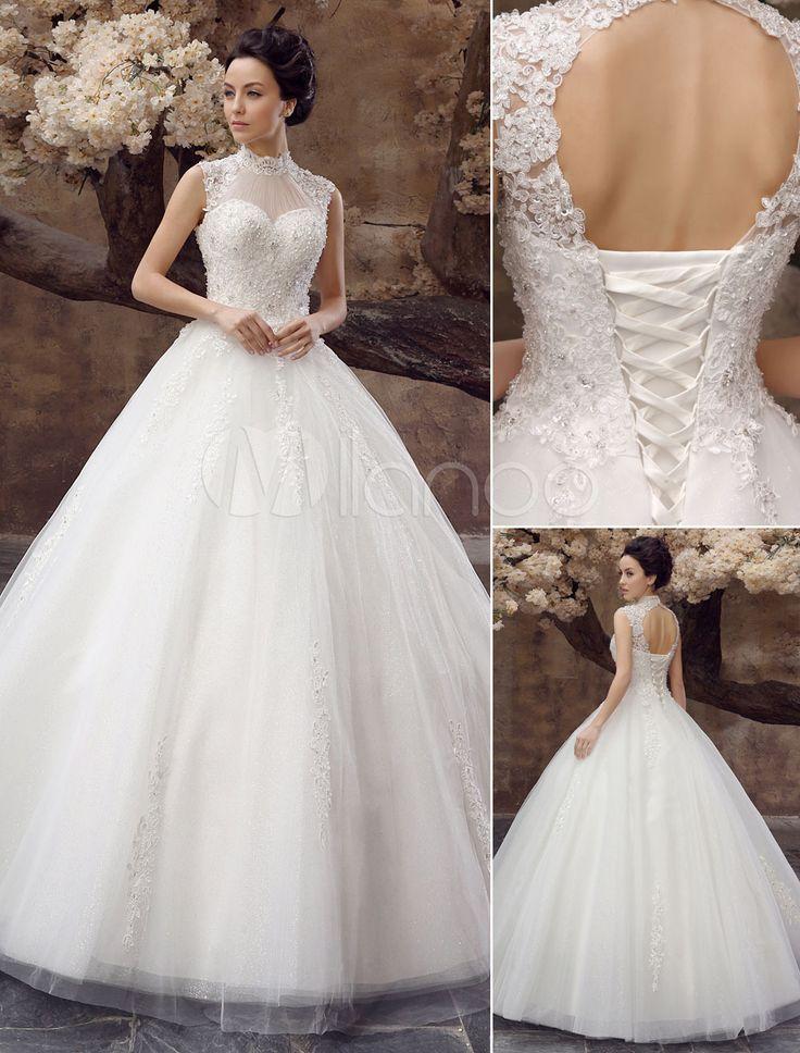 White Ball Gown High Collar Lace Floor-Length Wedding Dress For Bride - Milanoo.com