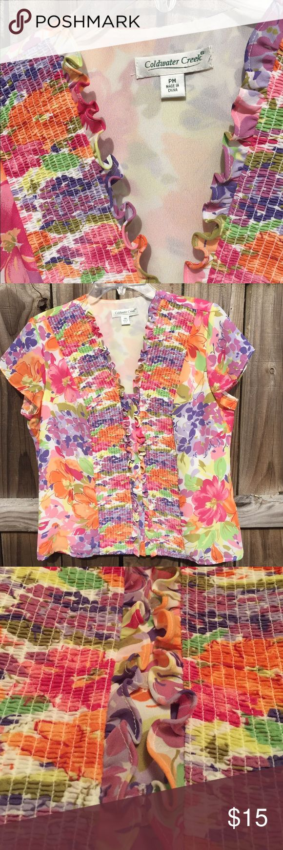 Coldwater Creek Floral Blouse Fully lined Coldwater Creek sheer floral blouse. Colors throughout are pinks, oranges, greens, purples and hints of yellow on a cream background. Smocking and ruffle detail at the front neckline to the hem. Ruffle detail covers the button up front. 100% polyester shell and lining. Sized Petite Medium. Please ask for measurements before buying if needed. Coldwater Creek Tops Blouses