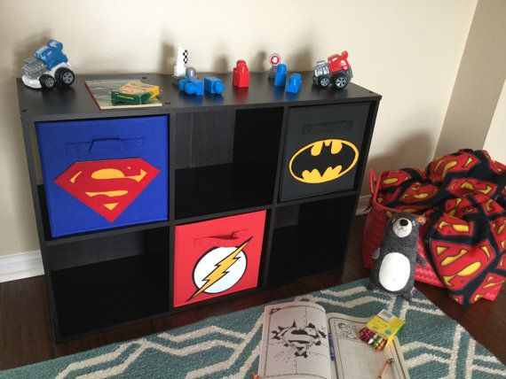 Superhero Storage Bin Set of THREE Superman by SewFreakinAwesome