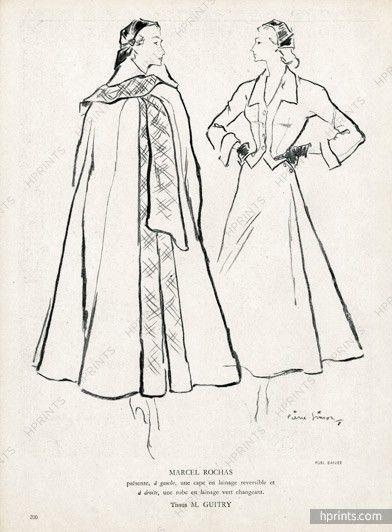 Marcel Rochas 1948 Cape, Tissus Guitry, Pierre Simon