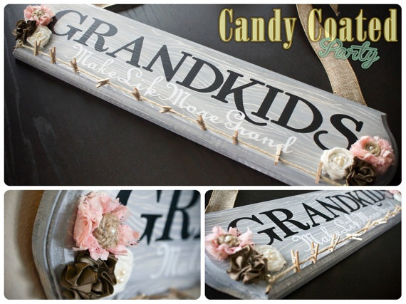 Grandkids Photo Sign by CandyCoatedParty. Used this idea to do two of these for Mothers day. Granted, mine were totally painted by hand and this looks like vinyl. But they turned out super cute!
