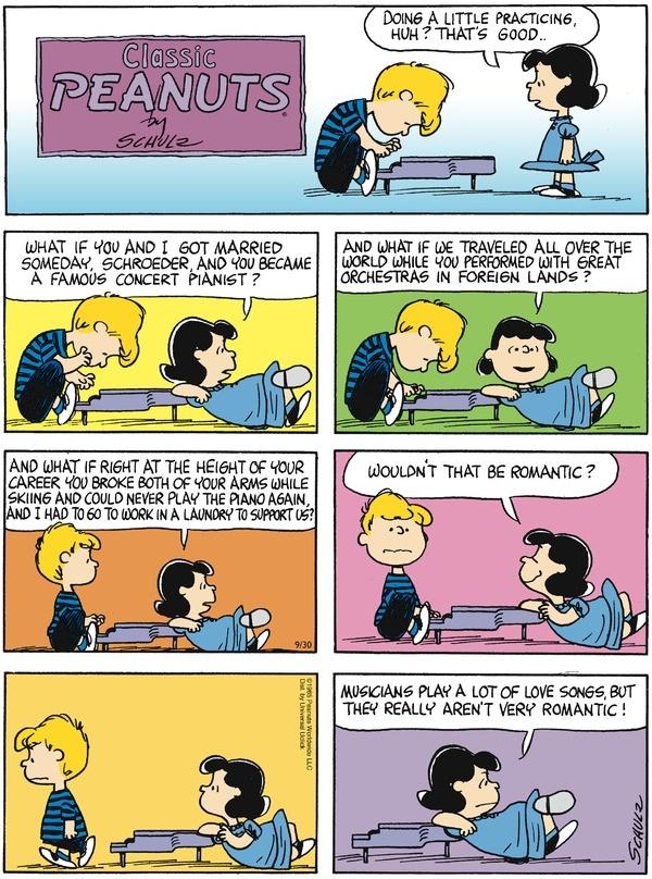 Peanuts on Gocomics.com. l romanticismo de Lucy deprime a cualquiera