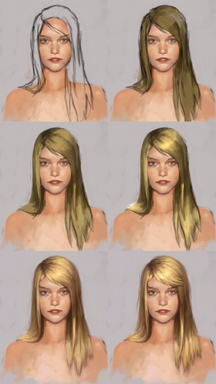 Digital painting tutorial, painting hair