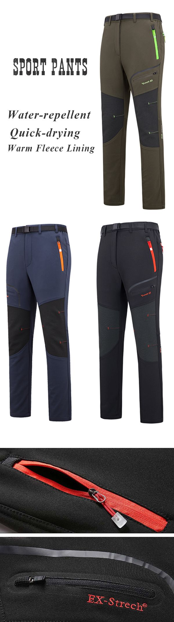 Mens Outdoor Outfit: Fleece Lining Sport Pants:  Water-repellent / Quick-drying