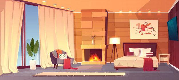 Download Vector Cartoon Interior Of Cozy Hotel Bedroom With