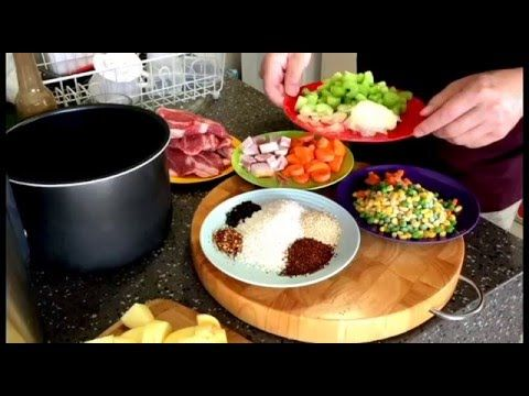Slow cooker lamb forequarter chops with rice and vegetables