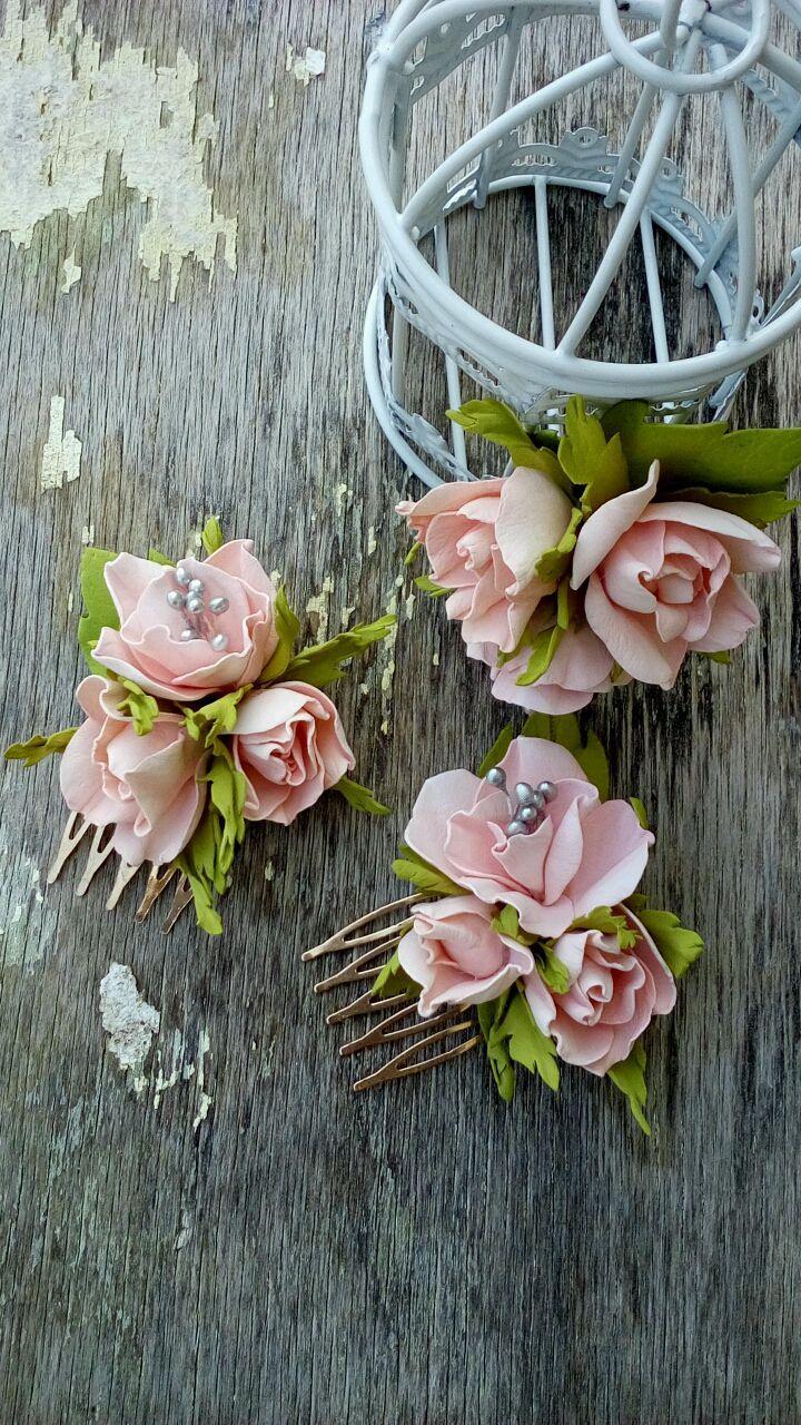 Купить Заколка для волос. Цветы в прическу. - розовый, розы, цветы ручной работы, подарок девушке