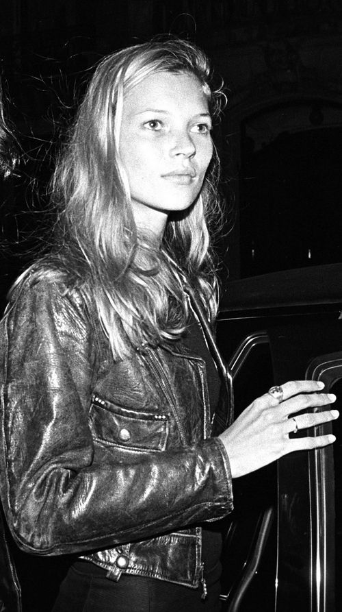 Kate Moss in a dreamy leather jacket.