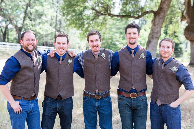 Groomsmen Denim Pants Brown Tweed Vest  Plaid Groom | Auburn-Grass-Valley-Country-Rustic-Wedding-Photographer