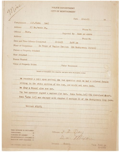 Police report on the arrest of Rosa Parks, 1955. A diagram showing where Rosa Parks was seated.