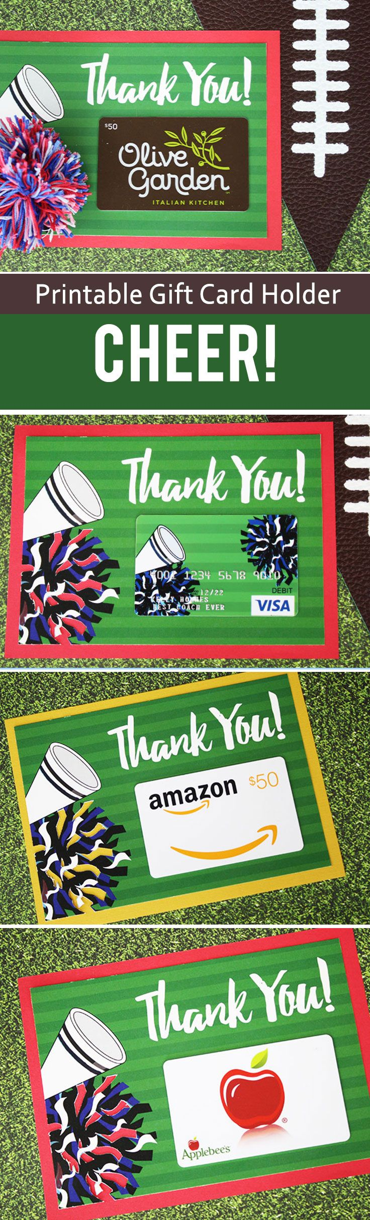 Free printable gift card holder to thank the cheer coach, pom mom and other fans of the team. Use the colors printed or get crafty and change them to your team colors.