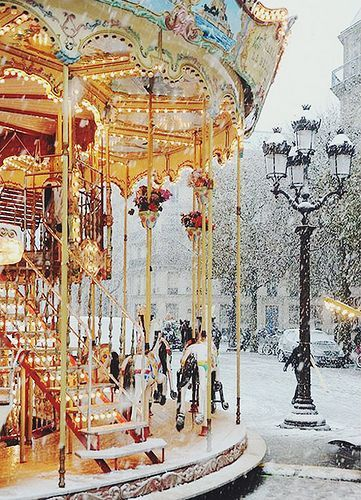 A snowy winter wonderland in the streets of Paris