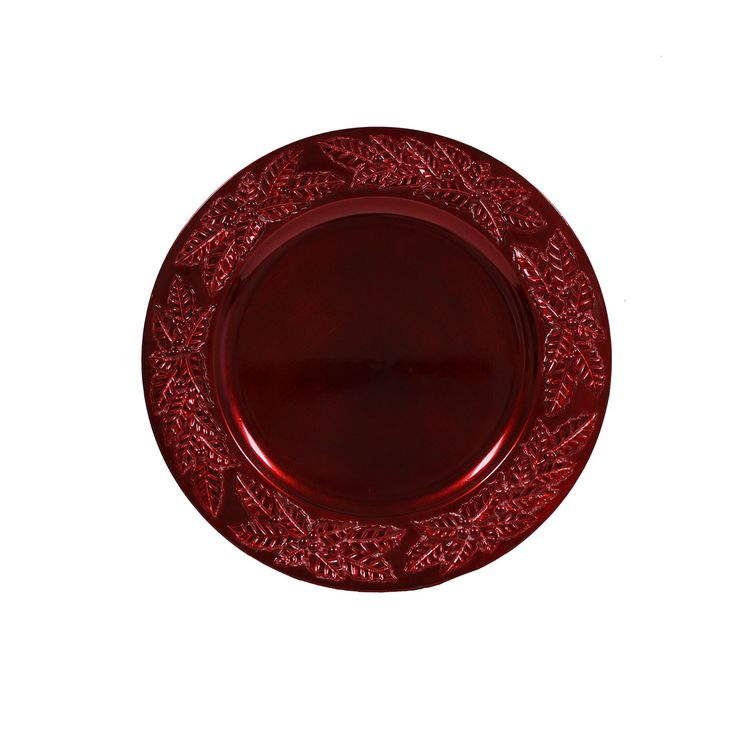 13 inch Round Charger Plates Rustic Harvest Red, Set of 12 | Wholesale Charger Plates