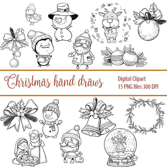 Digital Stamps Christmas Stocking Holly Set Digi Clip by DigiPPP