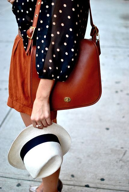Cute: Blouses, Panama Hats, Polka Dots, Coach Bags, Style, Color, Outfit, Leather Bags, Summer Clothing