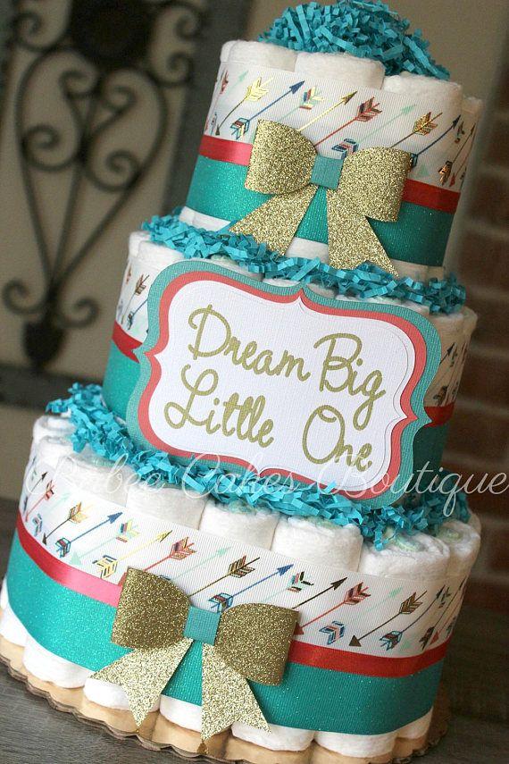 3 Tier Coral Teal & Gold Arrow Diaper Cake Dream Big Little