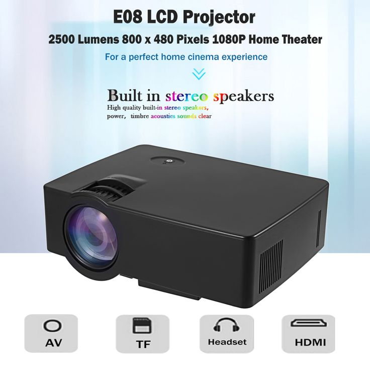 Genuine E08 LCD Projector Best Home Theater Projector 3D HDMI 2500 lumens 800 x 480 pixels Support Full HD 1080P Video Player