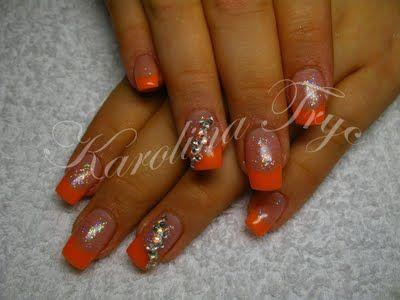 Nail Art Acrylic Uv Gel Nails Extension Rebalance Natural Nails Uv Gel Orange