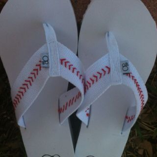 DIY baseball flip flops....buy white banded (cotton) flip flops...red embroidery thread....& stitch on baseball seams