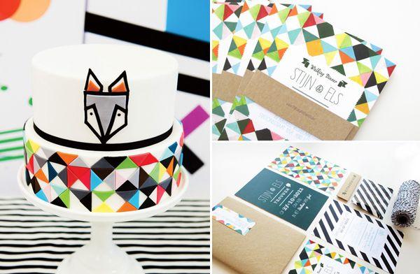geometric rainbow cake and invitations