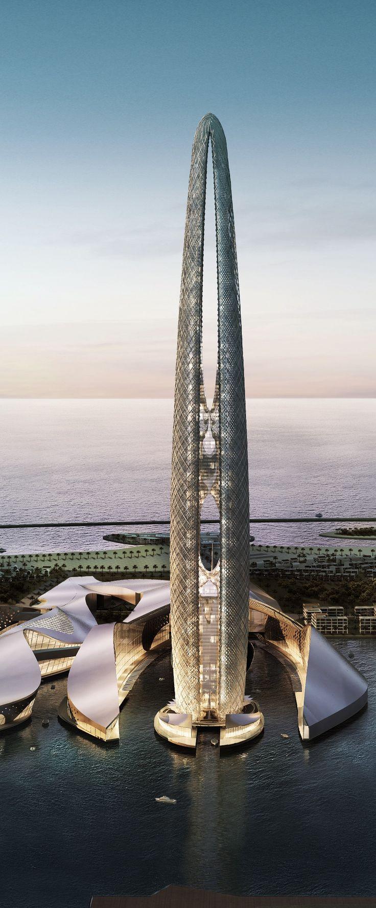 Torre da Ilha Lulu, Abu Dhabi, Emirados Arabes Unidos (UAE), projetado por Skidmore, Owings & Merrill (SOM) Architects. Tem 75 andares, altura 400 m.