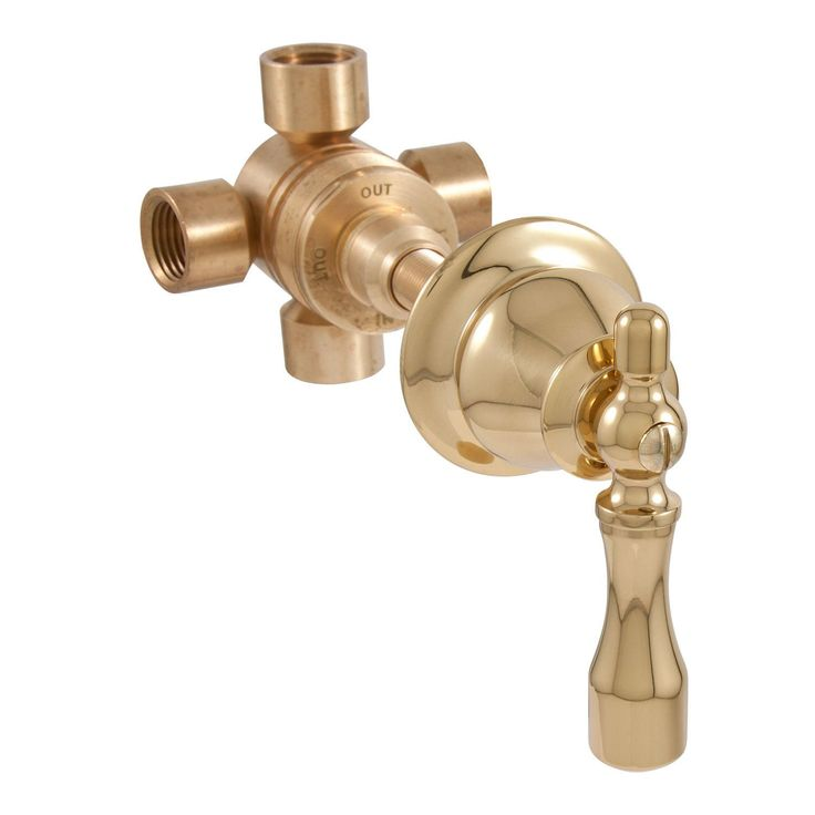 Traditional Three Way In-Wall Shower Diverter - Lever Handle - Polished Brass