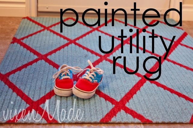 paint a rug: Utility Rug, Rugs, Painted Utility, Craft Ideas, Painted Rug, Laundry Room, Crafts
