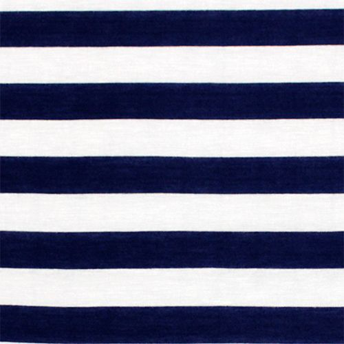 Navy Blue And White Stripe Cotton Jersey Blend Knit Fabric