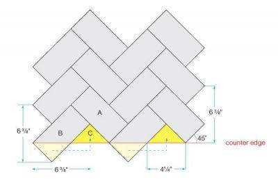 Instructions for herringbone backsplash installation.