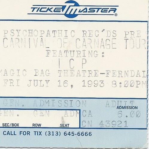 "Insane Clown Posse""Carnival of Carnage""Tour Vintage Concert Ticket*RARE!"
