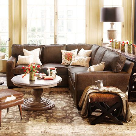 Brentwood 2 Piece Leather Square Arm Sectional