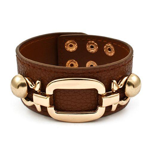 Golden Rectangle Leather Bracelet