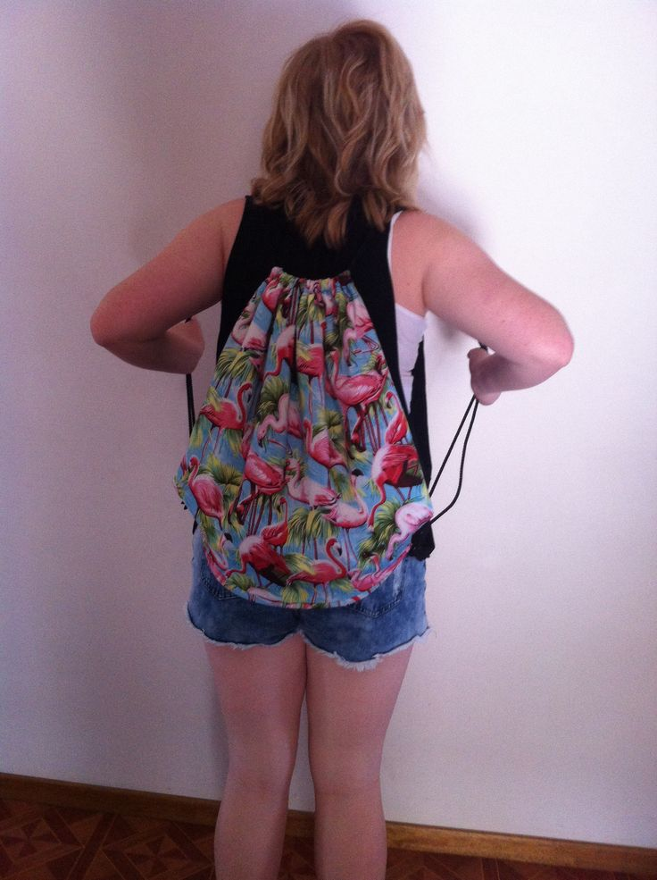 Flamingo Draw String Backpack
