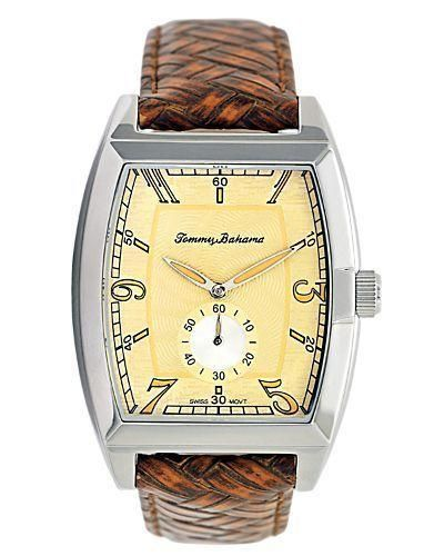 Refined and classic, this water-resistant watch is a luxurious way to accessorize any formal or casual outfit. Framed by a basketweave leather strap and stainless steel case, its... More Details