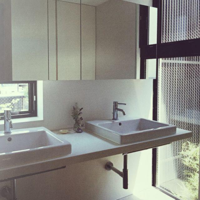 yoshiさんの、バス/トイレ,洗面所,洗面台周り,DURAVIT,デュラビット洗面台,デュラビット,床はグレーのタイルです,のお部屋写真