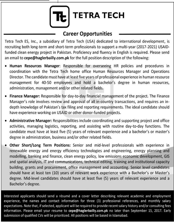 tetra tech jobs 2017 in islamabad for human resource manager finance manager and administrative manager. Resume Example. Resume CV Cover Letter