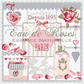 """Points de croix - Madame la Fée  - """"Eau de Roses"""" 191 x 188 points"""