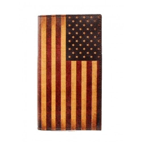 Mens Western Wallets Nocona Vintage USA Flag Rodeo Wallet